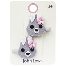 Buy John Lewis Felt Bunny Hair Clips, Pack of 2, Grey/Pink Online at johnlewis.com
