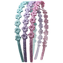 Buy John Lewis Glitter Flower Alice Bands, Multi Online at johnlewis.com