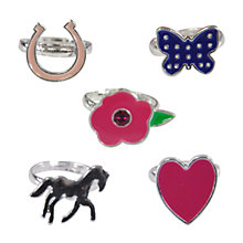 Buy John Lewis Girl Adjustable Charm Rings Set, Set of 5 Online at johnlewis.com