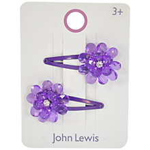 Buy John Lewis Girl Flower Gem Click Clack Hair Clips, Pack of 2, Purple Online at johnlewis.com