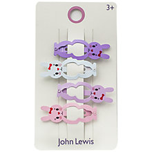 Buy John Lewis Bunny Rabbit Hair Clips, Pack of 4, Multi Online at johnlewis.com