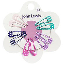 Buy John Lewis Mini Print Hair Clips, Pack of 10 Online at johnlewis.com