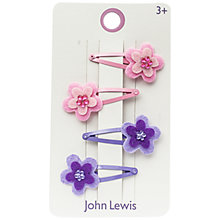 Buy John Lewis Felt Flower Clips, Pack of 6, Pink Online at johnlewis.com