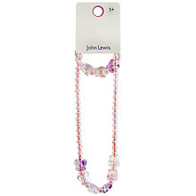 Buy John Lewis Butterfly Beaded Necklace, Pink/Lilac Online at johnlewis.com
