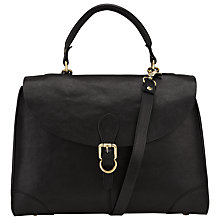 Buy John Lewis Large Top Handle Leather Grab Bag, Black Online at johnlewis.com
