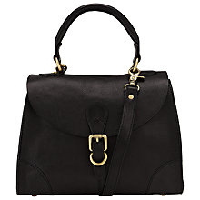Buy John Lewis Small Top Handle Leather Grab Bag, Black Online at johnlewis.com