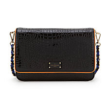 Buy Paul's Boutique Nicole Croc Shoulder Bag, Black Online at johnlewis.com