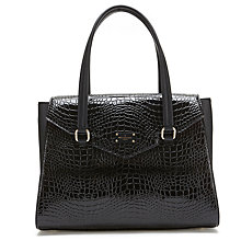 Buy Paul's Boutique Ashley Croc Shoulder Bag, Black Online at johnlewis.com