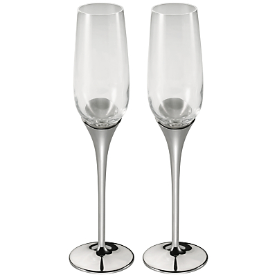 Royal Selangor Glass and Pewter Domaine Champagne Flutes, Pair