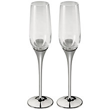 Buy Royal Selangor Glass and Pewter Domaine Champagne Flutes, Pair Online at johnlewis.com