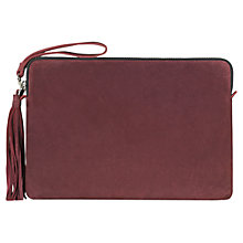 Buy Jigsaw Large Tassel Leather Clutch Bag, Burgundy Online at johnlewis.com