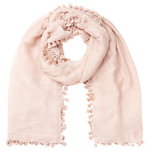 Buy Jigsaw Pom Pom Scarf, Dusky Pink Online at johnlewis.com