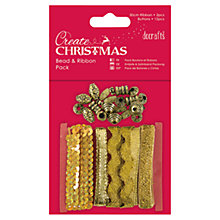 Buy Docrafts Create Christmas Beads And Ribbons Pack, Gold Online at johnlewis.com