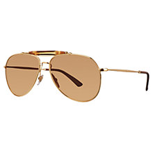 Buy Gucci GG2235/NS Aviator Bamboo Sunglasses, Gold Online at johnlewis.com
