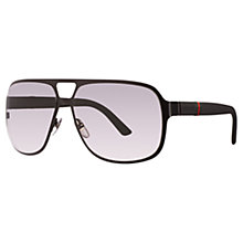 Buy Gucci GG2253/S Square Sunglasses, Black Online at johnlewis.com