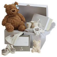 Buy John Lewis Large Teddy Bear Baby Hamper, Cream Online at johnlewis.com