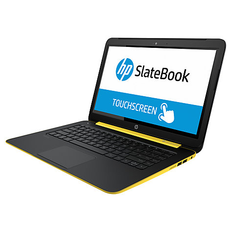 "Buy HP SlateBook 14-p000na Android Laptop, NVIDIA Tegra 4, 2GB RAM, 32GB eMMC, 14"" Touch Screen, Yellow and Silver Online at johnlewis.com"