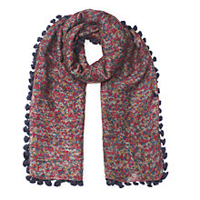 Buy Jigsaw Printed Pom Pom Scarf, Navy Online at johnlewis.com
