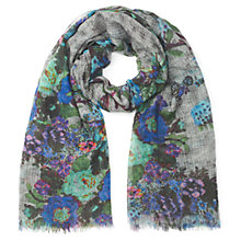 Buy Jigsaw Gardenia Print Scarf, Teal Online at johnlewis.com