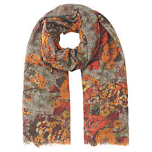 Buy Jigsaw Gardenia Print Scarf, Amber Online at johnlewis.com