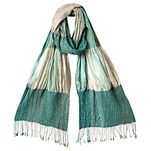 Buy East Silk Ruched Scarf, Duck Egg Online at johnlewis.com