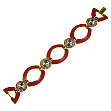Buy Alice Joseph Vintage 1980s Enamel Gilt Plated Diamante Bracelet, Red Online at johnlewis.com