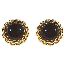 Buy Alice Joseph Vintage 1980s Christian Dior Stone Clip-On Earrings, Black / Gold Online at johnlewis.com