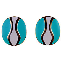 Buy Alice Joseph Vintage 1980s Oval Enamel Stud Earrings, Turquoise / Cream Online at johnlewis.com