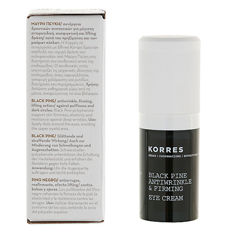Buy Korres Black Pine Antiwrinkle And Firming Eye Cream, 15ml Online at johnlewis.com