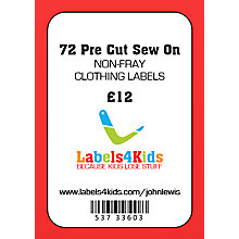 Buy Labels4Kids Hot Cut Sew On Clothing Labels, Pack of 72 Online at johnlewis.com