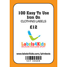 Buy Labels4Kids Easy Iron On Clothing Labels, Pack of 100 Online at johnlewis.com