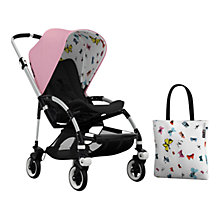 Buy Bugaboo Bee 3 Andy Warhol Pushchair Sun Canopy & Tote Bag, Pink/Butterflies Online at johnlewis.com