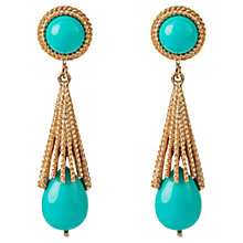 Buy Susan Caplan Vintage 1970s Avon Faux Turquoise Textured Drop Earrings, Gold Online at johnlewis.com
