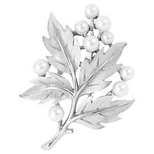 Buy Susan Caplan Vintage 1960s Trifari Faux Pearl Bough Brooch, Silver Online at johnlewis.com