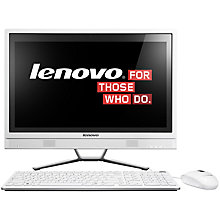 "Buy Lenovo C470 All-in-One Desktop PC, Intel Core i3, 4GB RAM, 1TB, 21.5"" Touch Screen Online at johnlewis.com"