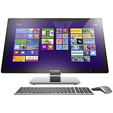 "Buy Lenovo A740 All-in-One Desktop PC, Intel Core i7, 8GB RAM, 1TB + 8GB SSHD, 27"" QHD Touch Screen, Silver Online at johnlewis.com"