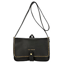 Buy Ted Baker Studun Leather Stab Stitch Across Body Bag, Black Online at johnlewis.com