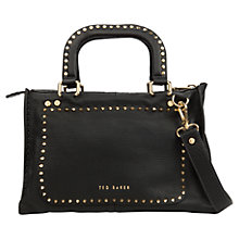 Buy Ted Baker Studory Leather Stab Stitch Across Body Bag, Black Online at johnlewis.com