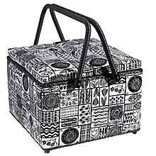 Buy John Lewis Malmo Twin Lid Sewing Basket, Black/White Online at johnlewis.com