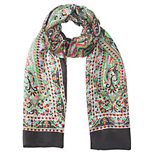 Buy Jigsaw Silk Paisley Scarf, Black Online at johnlewis.com