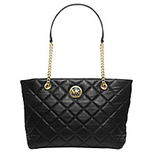 Buy MICHAEL Michael Kors Fulton Quilted Large Leather Tote Bag, Black Online at johnlewis.com