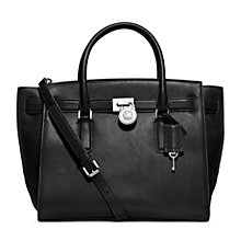Buy MICHAEL Michael Kors Hamilton Large Leather Traveler Bag, Black Online at johnlewis.com