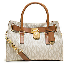 Buy MICHAEL Michael Kors Hamilton Logo Satchel Bag, Vanilla Online at johnlewis.com