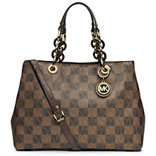Buy MICHAEL Michael Kors Cynthia Medium Check Satchel Bag, Multi Online at johnlewis.com