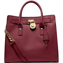 Buy MICHAEL Michael Kors Hamilton Large Saffiano Leather Tote Bag, Claret Online at johnlewis.com