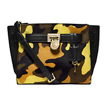 Buy MICHAEL Michael Kors Small Leather Hamilton Camo Calf-Hair Messenger Bag, Yellow Online at johnlewis.com