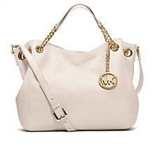Buy MICHAEL Michael Kors Jet Set Chain Gathered Leather Shoulder Bag, Optic White Online at johnlewis.com