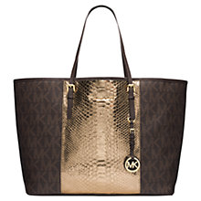 Buy MICHAEL Michael Kors Medium Jet Set Centre-Stripe Travel Leather Tote Bag Online at johnlewis.com