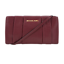 Buy MICHAEL Michael Kors Daria Pleated Leather Clutch, Claret Online at johnlewis.com