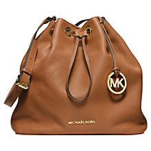 Buy MICHAEL Michael Kors Jules Drawstring Leather Shoulder Bag, Luggage Online at johnlewis.com